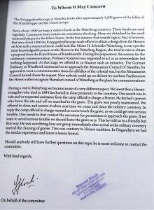 Verklaring over de gedenksteen voor de gevallen Herero's